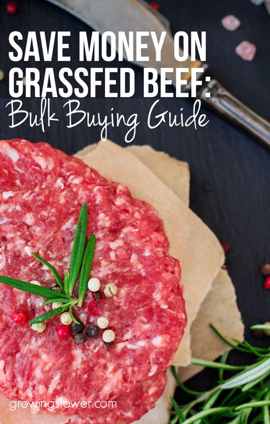 Tips for buying a quarter or half cow to save money on grass fed beef. This is one of the best ways to save money on groceries because meat, especially beef, is one of the highest priced real foods when you grocery shop. Instead, buy beef in bulk direct from the farmer to save money. Everything you need to know from how much meat to expect from a quarter cow or a half, how much it's going to cost, and where to find a farmer in your area. Hint: this is the cheapest grass fed steak by far!