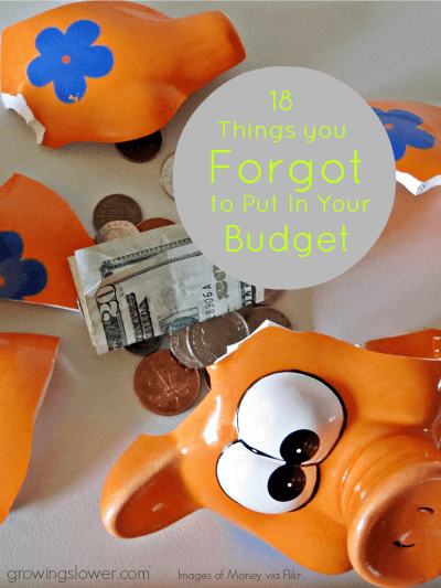 """Make sure you put these 18 commonly forgotten budget items into your personal budget. Plan ahead for these """"surprise"""" expenses, and stick to your budget at last!"""