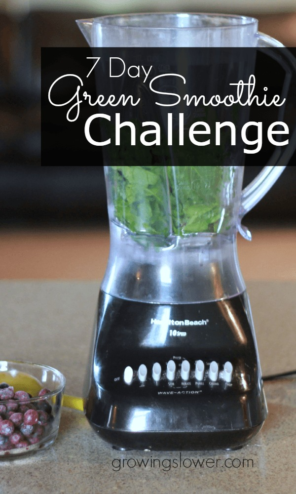 Let go of the guilt and restrictions of dieting. Instead commit to simply adding in more healthy fruits and vegetables in a way that tastes good and kids will actually eat! Take the 7 Day Green Smoothie Challenge. www.growingslower.com #ILikeVeggies #greensmoothiechallenge