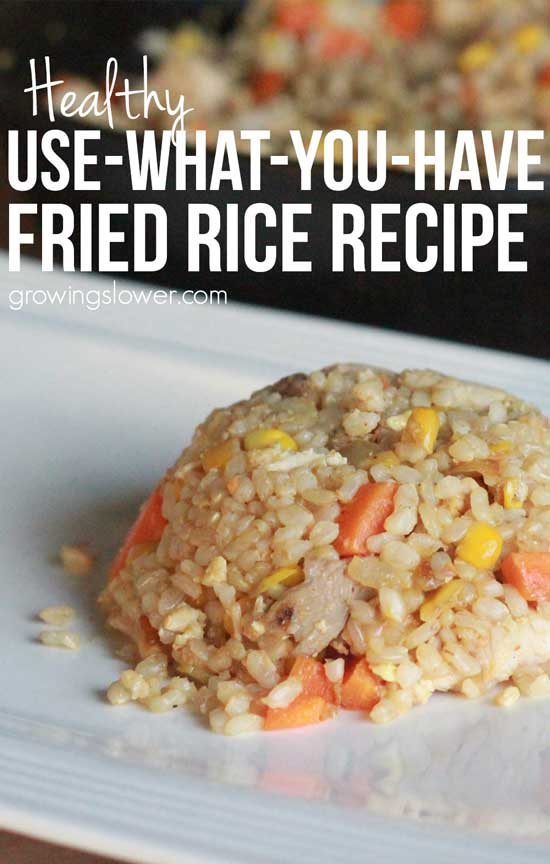 Always a crowd pleaser with my family. Try this healthy leftover fried rice recipe with leftover rice, an egg, and your choices of meat and vegetables. You can add variety and use up leftovers without any complaints of 'not that again'. This recipe is gluten free and dairy free.