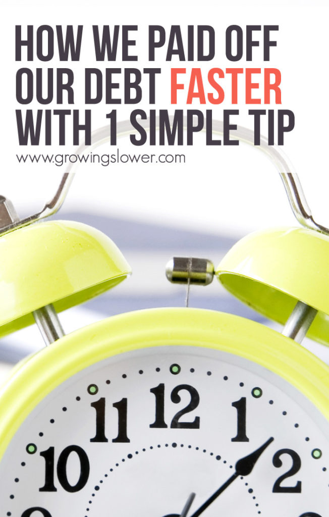 Find out how this simple tip can make a big difference in helping you pay off debt months faster. This is how we paid off our debt faster. Try it right now and be debt free months or even years sooner.
