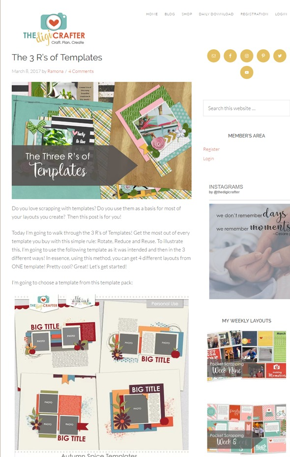 Here's one last example of a successfully designed blog. Ramona of the DigiCrafter used a playful multi-colored palette throughout her design to perfectly reflect the creative nature of her digital scrapbooking blog.